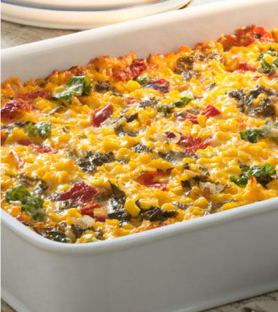 Cheesy Corn Casserole with Kale and Roasted Red Peppers