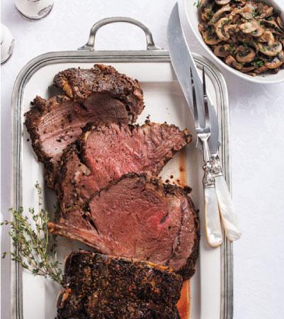 Christmas Easy Carve Rib Roast with Au Jus & Oven-Seared Mushrooms