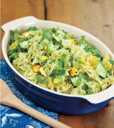 Grilled Corn, Cucumber and Arugula Pasta Salad with Scallion Pesto