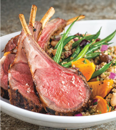 Maple-Harissa Whole Roasted Lamb Rack with Quinoa