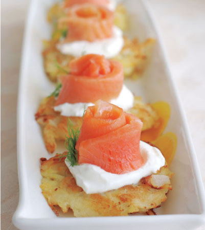 Potato Latkes with Smoked Salmon