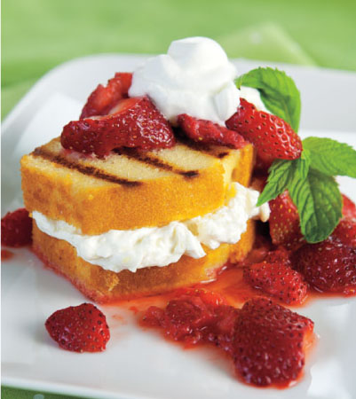 Strawberries & Cream Grilled Pound Cake